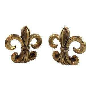 1950s Vintage Gold Fleur Bookends - a Pair For Sale