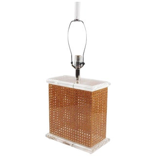 1970s Italian Modern Lucite and Rattan Tall Table Lamp For Sale