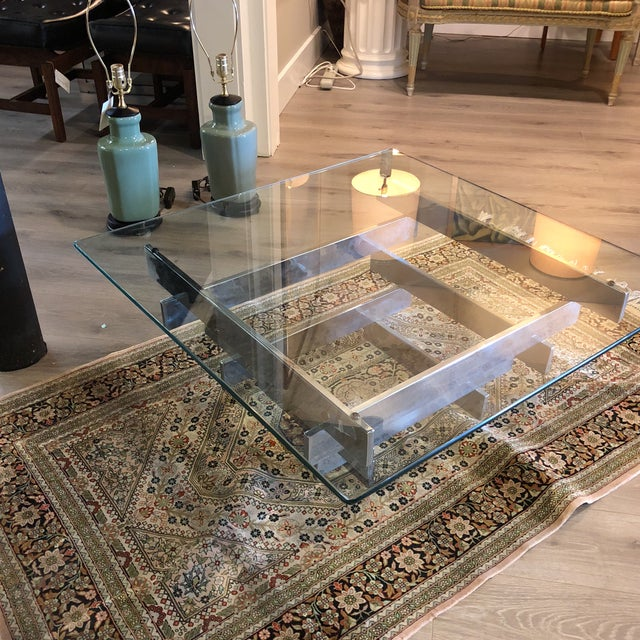 Fabulous Paul Mayen stacked coffee table in Chrome and Glass.