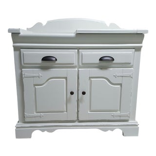 1960s Shabby Chic Distressed Dry Sink Storage Cabinet For Sale