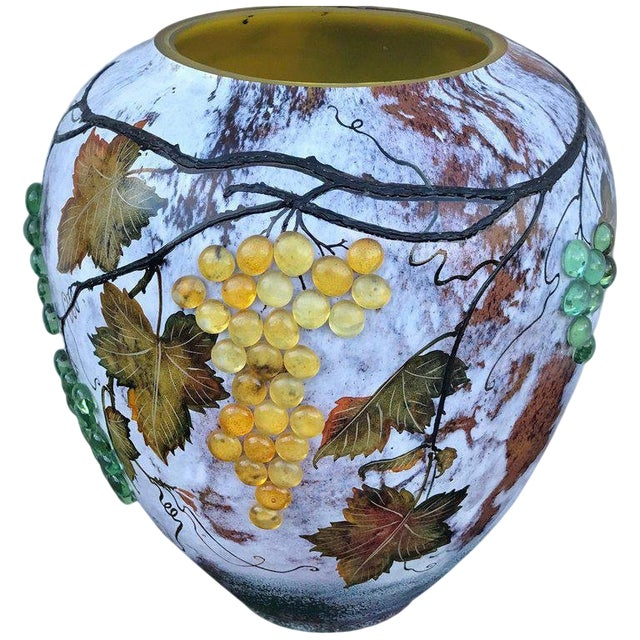Large Art Glass Vase With Applied Grapes, After Daum Nancy For Sale