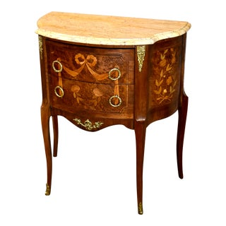 Vintage French Marble Top Inlaid Two Drawer Chest with Brass Ormolu For Sale