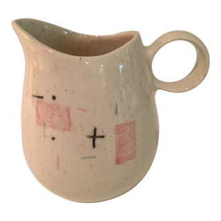 """1950s Mid-Century Modern Metlox Vernon Ware Atomic """"Tickled Pink"""" Pitcher For Sale"""