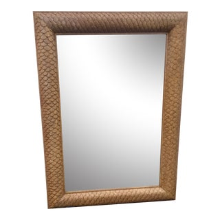 Marge Carson Large Fish Scale Wood Framed Mirror For Sale