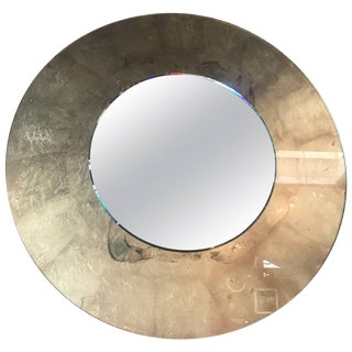 Italian Round Mirror With Gold Leaf For Sale