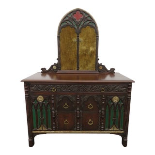 Gothic Heavy Carved Painted Dresser With Tri Folding Mirror For Sale