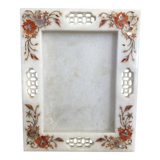 1960s Vintage Chinoiserie Marble Mother of Pearl Inlay Picture Frame For Sale