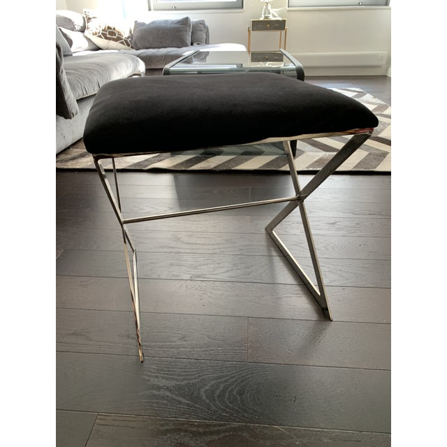 Made Goods Microsuede Chrome X Bench Stools - Set of 6 For Sale In New York - Image 6 of 12