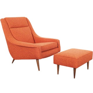 Mid Century Lounge Chair & Ottoman For Sale