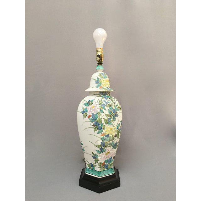 Paul Hanson Lighting Co. Paul Hanson Floral Porcelain Ginger Jar Lamp For Sale - Image 4 of 11