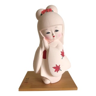 Vintage Mid Century Japanese Porcelain Bisque Gumps Exclusive Hakata Doll Female Figurine For Sale