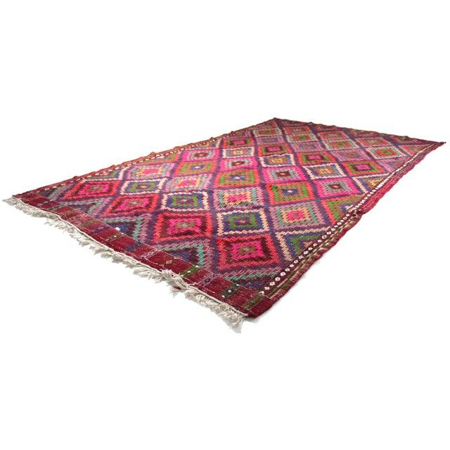 Tribal Mid Century Turkish Oushak Vintage Kilim Rug For Sale - Image 3 of 5