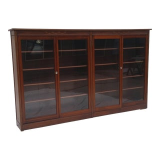 Antique Mahogany Glass Door Bookcase - Paine's Furniture For Sale