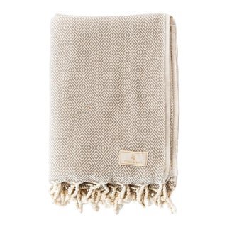 Stick & Ball Handwoven Cotton Towel in Taupe For Sale