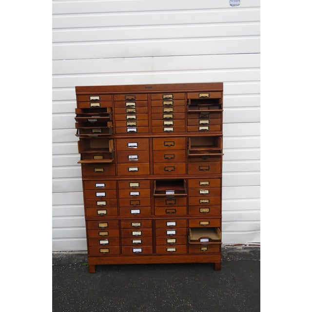 Traditional Early 1900s Oak Stacked File Cabinet Cupboard by p.a. Wetzler Co For Sale - Image 3 of 13