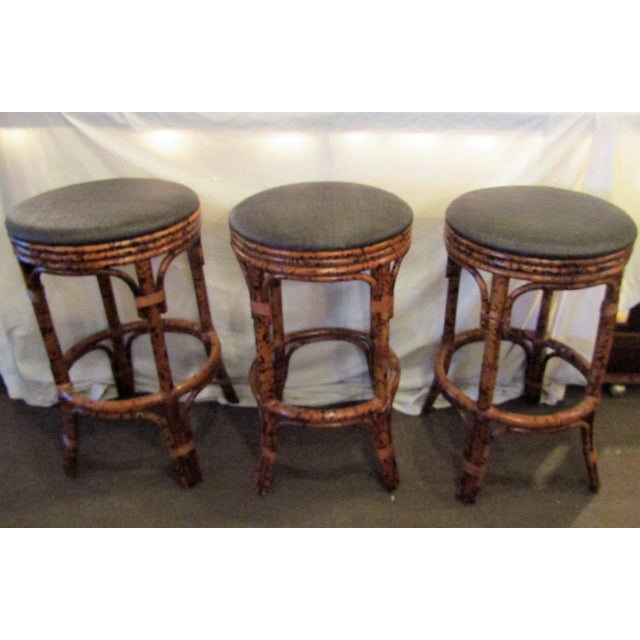 Burnt Bamboo Bar Stools With Woven Seats - Set of 3 - Image 6 of 6