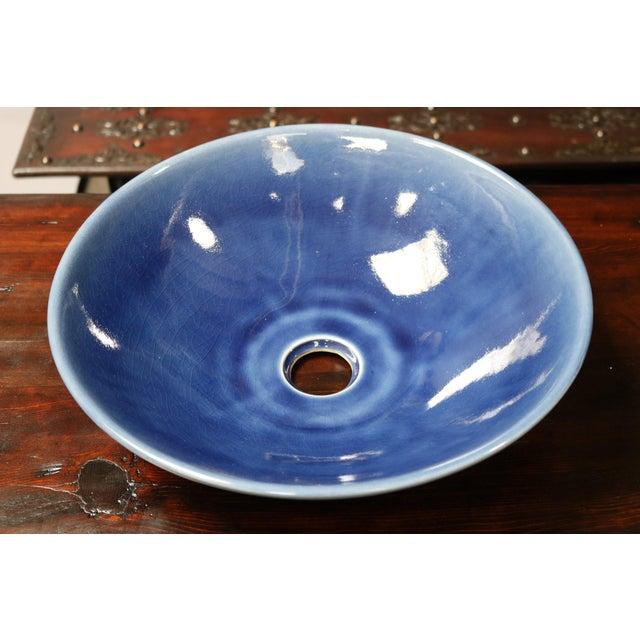 Cobalt Blue Sink Basin For Sale - Image 4 of 5