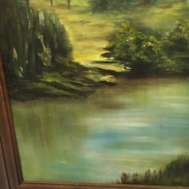 Wooden Framed Landscape Oil Painting - Image 5 of 7