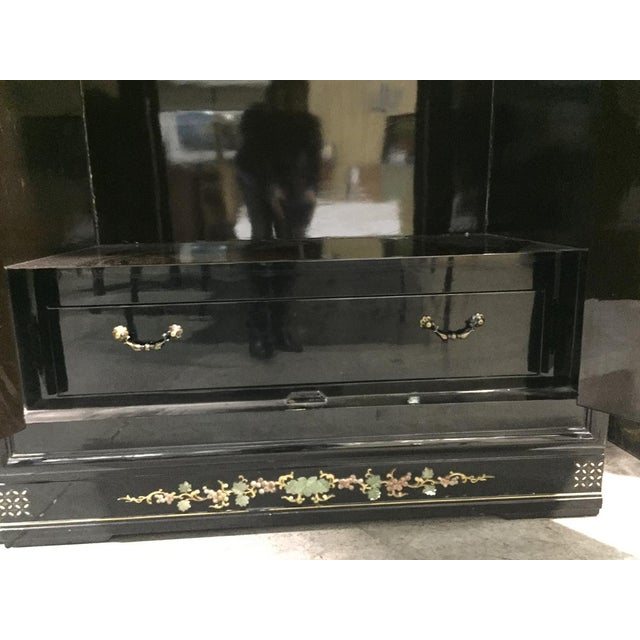 Vintage Chinoiserie Black Lacquer Mother of Pearl Inlay Wardrobe Armoire - Pair Available For Sale - Image 9 of 11