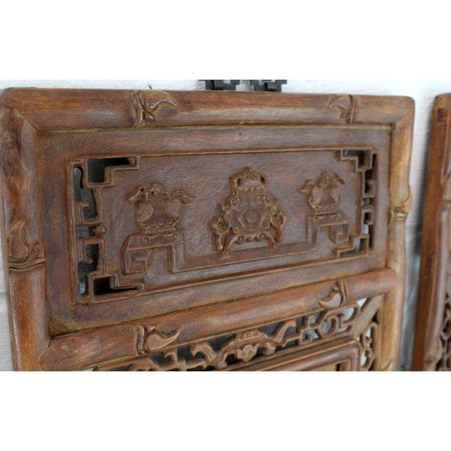 1920s Asian Carved Wall Panels - Set of 3 For Sale - Image 6 of 8