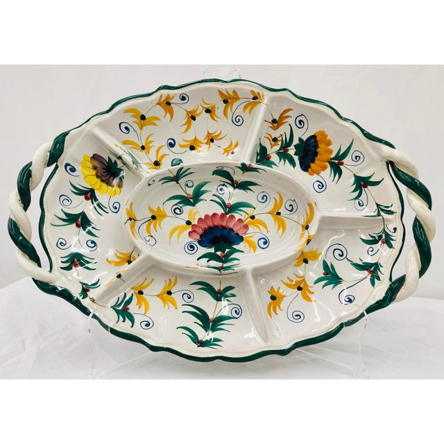 Stunning Early Vintage Hand Painted & Hand Made Italian Painted Porcelain / Ceramic Serving Dish / Platter. By Bertucci &...