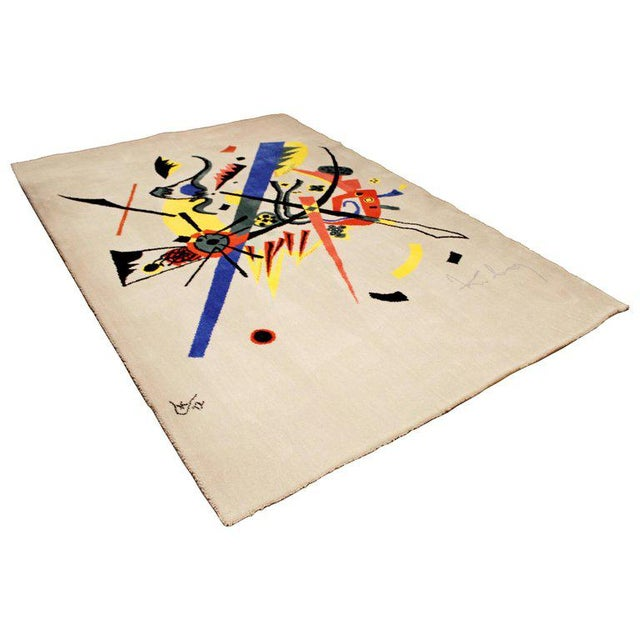 """Blue Mid-Century Modern Abstract Rug Tapestry Inspired by Kandinsky Small Worlds - 5'11"""" x 9' For Sale - Image 8 of 8"""