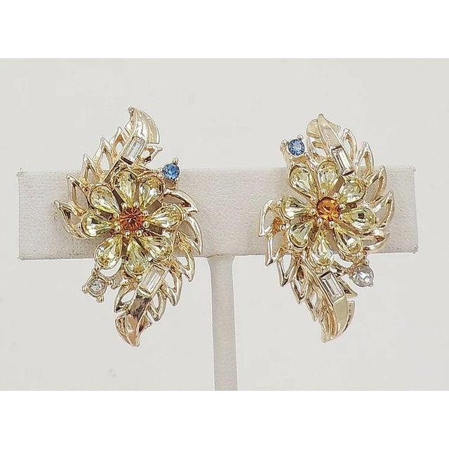 1950s Early 1950s Corocraft Rhinestone Flower Earrings For Sale - Image 5 of 7