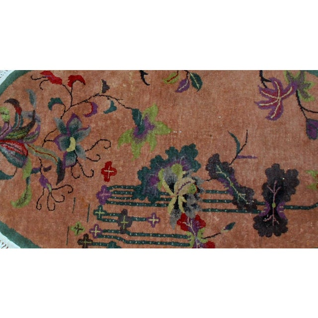 1920s Handmade Antique Oval Art Deco Chinese Rug - 3' X 4.10' - Image 4 of 7