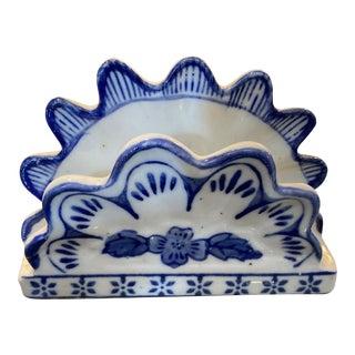 Blue & White Napkin Holder For Sale