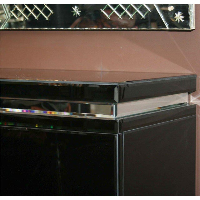 Custom Black Mirrored Credenza Available in Any Size, Color Mirror and Legs.