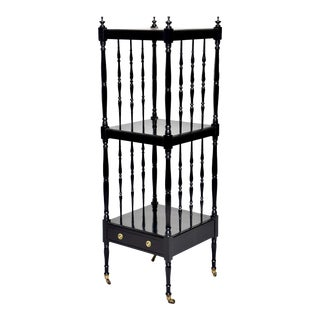 English Ebonized Mahogany Three-Tier Etagere on Casters For Sale