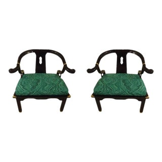 Mid-Century Black Lacquer Chinese Style Chairs - a Pair