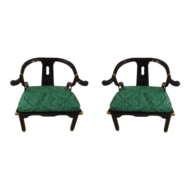 Mid-Century Black Lacquer Chinese Style Chairs - a Pair For Sale