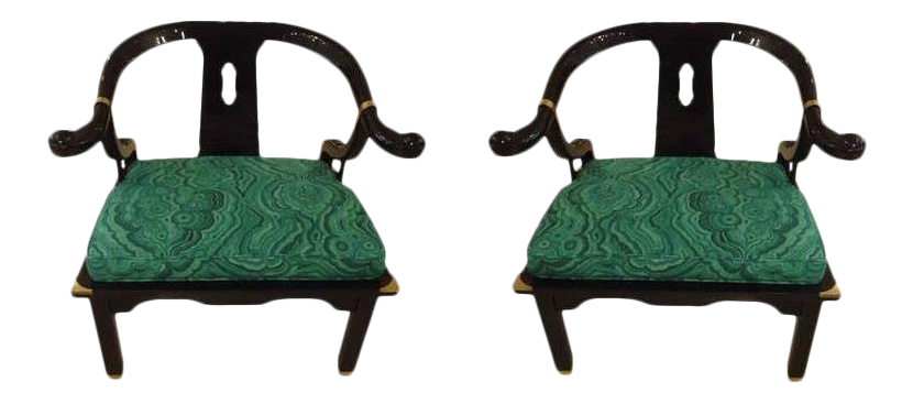 Mid Century Black Lacquer Chinese Style Chairs   A Pair   Image 1 Of 4