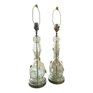 Vintage Italian Bubble Glass Table Lamps - a Pair