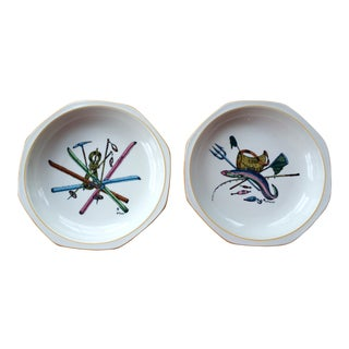 Villeroy & Boch Home Decor, Skiing, Fishing, Decorative Bowls - a Pair