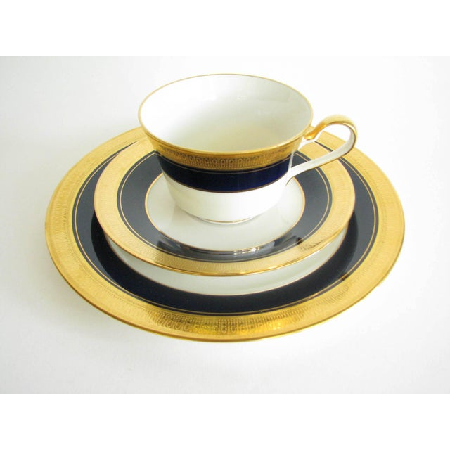 Traditional Vintage Noritake Cobalt and Gold Encrusted Band Tea Set - 21 Pieces For Sale - Image 3 of 13