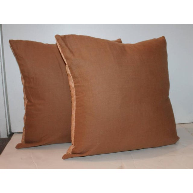 Primitive Pair of Peachy Velvet Pillows For Sale - Image 3 of 6