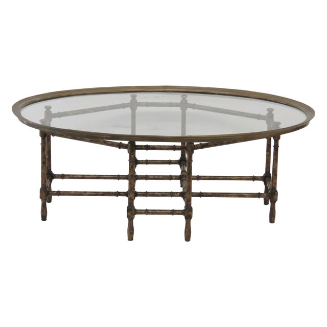 Bronze Tray Top Faux Bamboo Coffee Table - Image 1 of 5