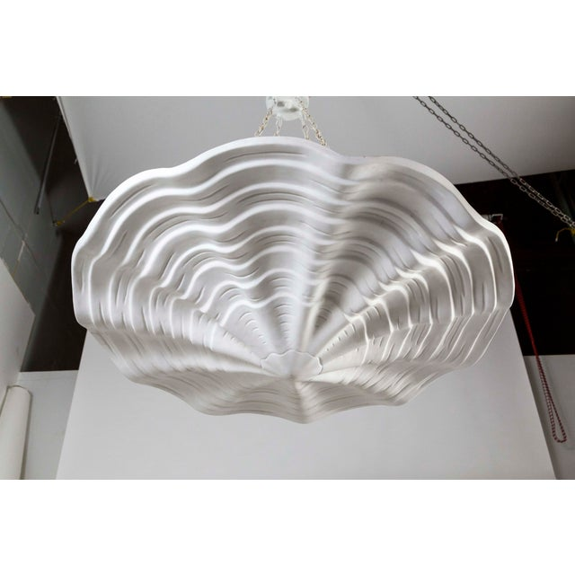 2010s Mammoth White Plaster Shell Pendant For Sale - Image 5 of 9