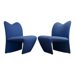Sculptural Postmodern Blue Chairs, A Pair