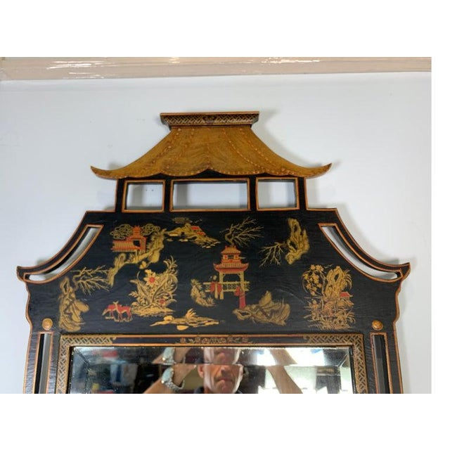 1950s Asian Style Decorative Chinoiserie Hand Painted Mirror For Sale - Image 9 of 11