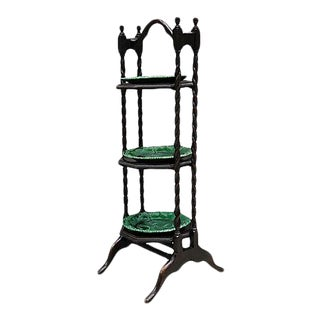 Antique Serving Tower W/ Majolica Plates, 4pcs For Sale