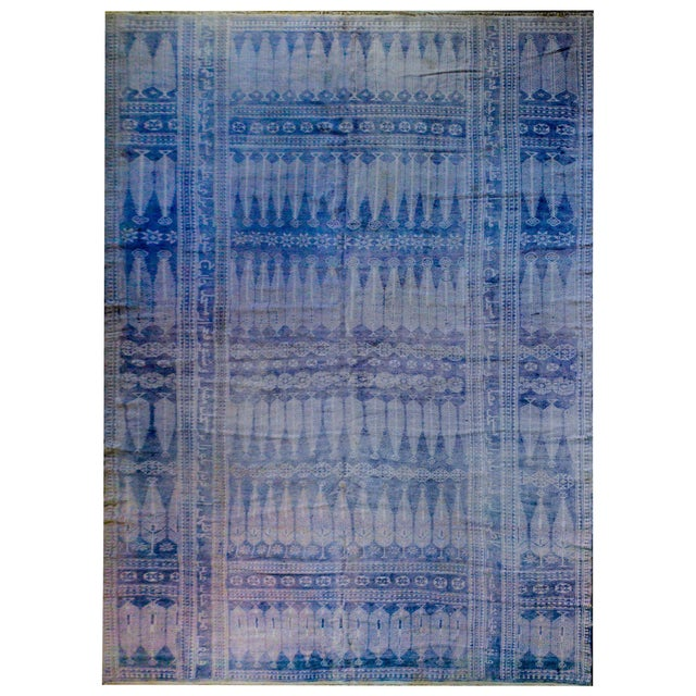 Vintage Blue and White Yadz Kilim For Sale - Image 9 of 9