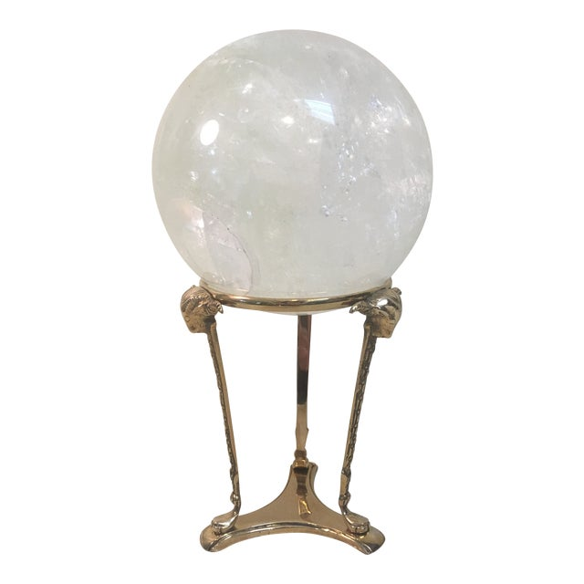 Selenite Orb on Brass Stand For Sale