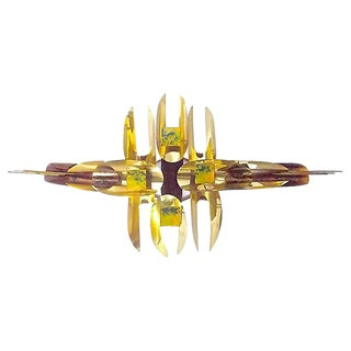 William Vose Mid-Century Gold Metal Wall Sculpture For Sale