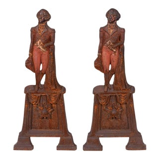 Pair of Mid-20th Century George Washington Andirons For Sale