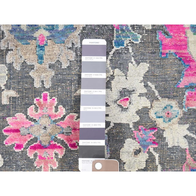 Gray Sari Silk With Oxidized Wool Hand Knotted Oushak Runner- 8′1″ × 10′2″ For Sale - Image 8 of 13