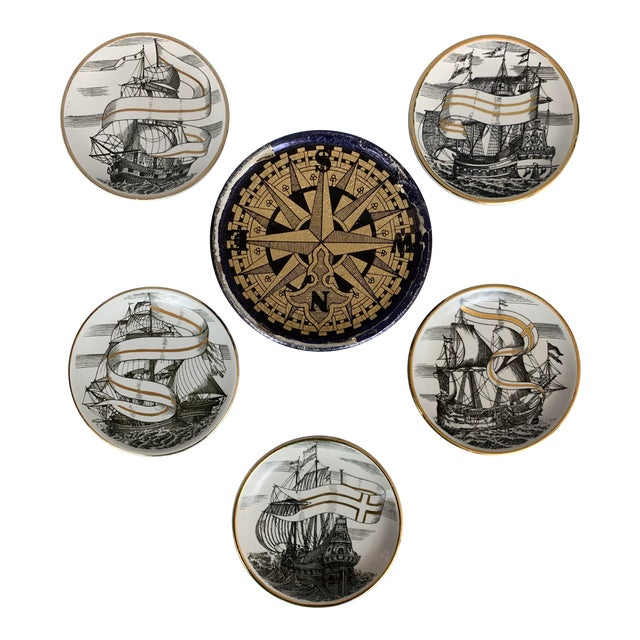 Fornasetti Vintage Cocktail Coasters - Set of 5 For Sale