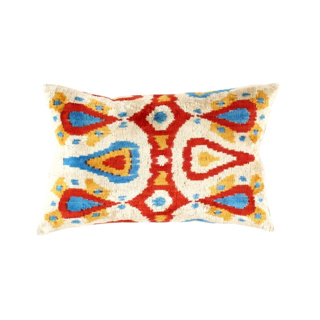 Boho Chic Pasargad Oasis Collection Silk Velvet Ikat Pillow For Sale - Image 3 of 3